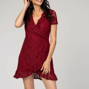 women's PINKBLUSH red short sleeve lace dress L